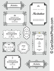 Set of ornate vector frames and ornaments with sample text...