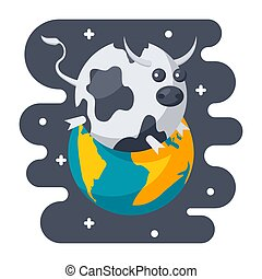 Parody Science Icon - Parody science concept with spherical...