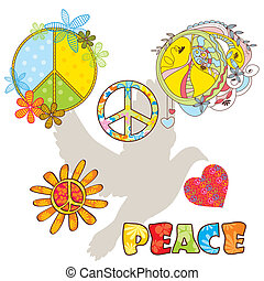 set of various peace symbols vector illustration