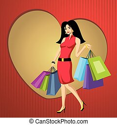 pretty young woman with bags vector illustration