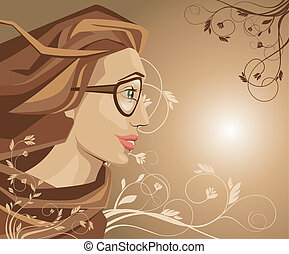 beautiful vector girl in sunglasses - abstract background...