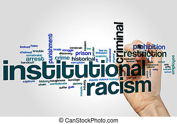 Institutional racism word cloud concept on grey background