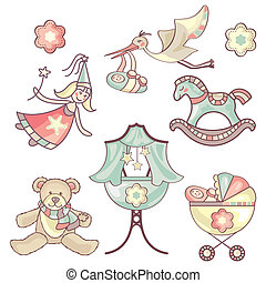 set of baby products - vector illustration set of different...