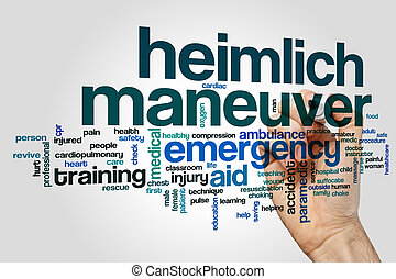 Heimlich maneuver word cloud concept on grey background