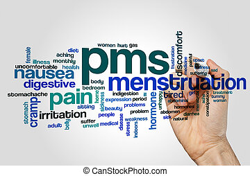PMS word cloud concept on grey background