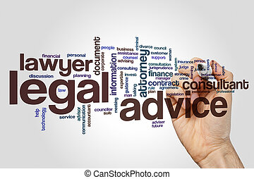 Legal advice word cloud concept on grey background