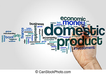 Domestic product word cloud concept on grey background.