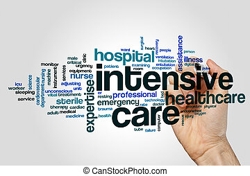 Intensive care word cloud concept on grey background