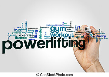 Powerlifting word cloud concept on grey background