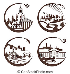 city graphic illustration - set of vector city graphic...