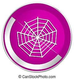 Spider web web design violet silver metallic border internet icon.