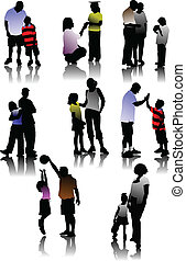 Children  with parents silhouettes