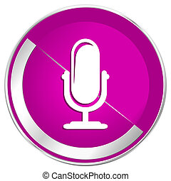 Microphone web design violet silver metallic border internet...