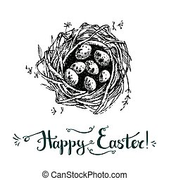 Vector hand drawn card. Happy easter. Cute sketchy nest with...