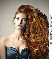 Woman with beautiful hair - Woman with beautiful red hair