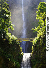 Multnomah Waterfall in Oregon Northwest - Multnomah...