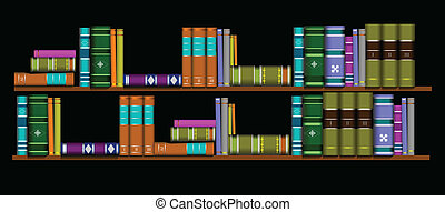 Vector illustration bookshelf library