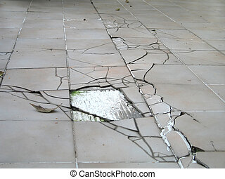 Earthquake crack on floor - Earthquake crack on a building...