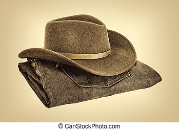 cowboy hat and jeans