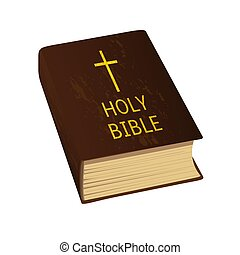 Holy Bible. Vector Illustration. Hard cover, golden cross...
