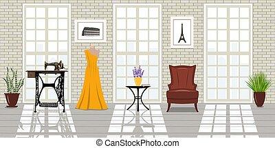 Fashion salon, Tailor workplace. Vogue studio - Fashion...