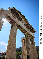 Roman Agora of Athens, Greece - Remains of the Gate of...