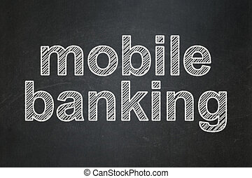 Banking concept: Mobile Banking on chalkboard background -...