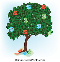 alone growing tree - Illustration of alone growing tree with...