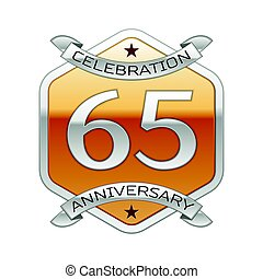 Sixty five years anniversary celebration silver logo with...