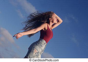 Woman outside - WOman feeling free outside