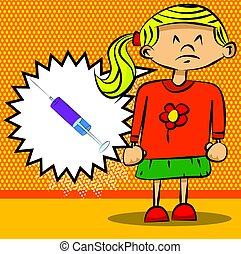 Sad little girl thinks to vaccination(syringe in a speech bubble).