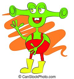 Green alien with big smile and ears. - Cartoon cute green...