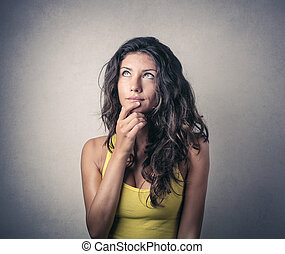 Woman in her thoughts