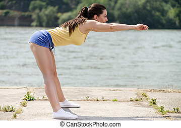 Stretching By The River