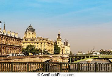 Paris city view with bridges and concierge