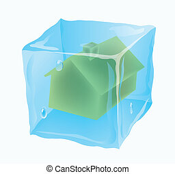 house is frozen - Ice cube in which the house is frozen