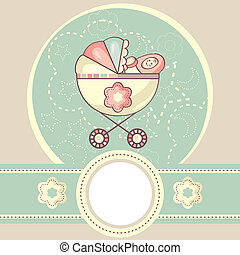 abstract baby background with cradle vector illustration