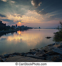 Beautiful sunset on the Dnieper River in the city of Dnipro...