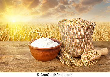 still life of wheat and flour - still life ears of wheat and...