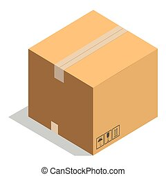 Carton paper box or cardboard 3D post package vector icon