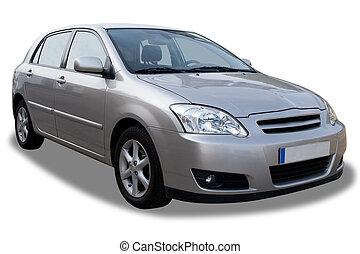 compacto, 4-door, coche, aislado, blanco