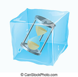 Sand-glass - The frozen cube in which a sand-glass is...