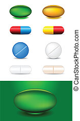 set of different medicines - set of different capsules and...