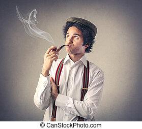 Man smoking - Man in suspenders smoking