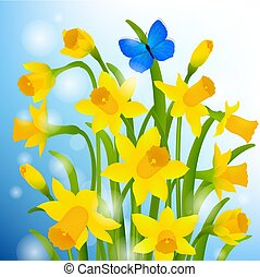 Spring Postcard With Narcissus Flowers Gradient Mesh, Vector...