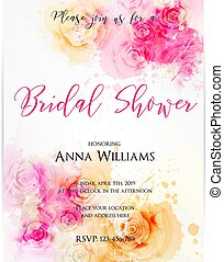 Bridal shower invitation template with abstract roses on...