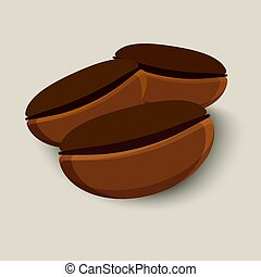 Coffee beans isolated - Three brown coffee beans isolated....