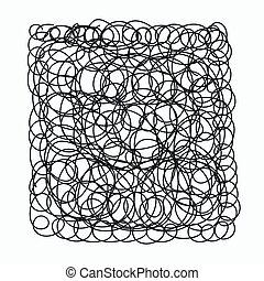 chaotic doodle square - Hand drawn chaotic doodle in form of...