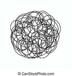 chaotic doodle - Hand drawn chaotic doodle in form of circle...
