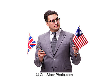 Young businessman with flag isolated on white